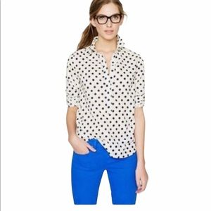 J. Crew 100% Cotton Polka Dot Top